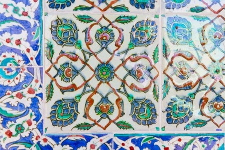 Handmade Blue Tiles from Topkapi Palace Stock Photo - 21812685