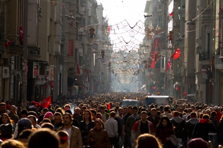 People walk on Taksim Istiklal Street
