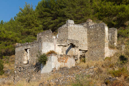 kayakoy: Ruined house from Kayakoy, Fethiye Stock Photo