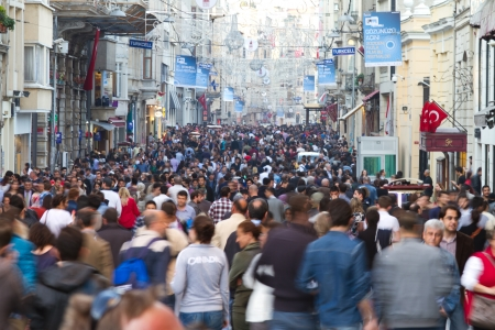 ISTANBUL - APRIL 07: Taksim Istiklal Street on April 07, 2012 in Istanbul, Turkey. Taksim Istiklal Street is popular destination in Istanbul.