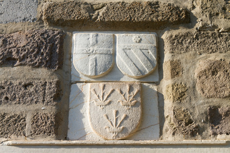 mugla: Knight Symbols in Bodrum Castle from Mugla, Turkey Stock Photo