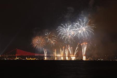 strait: Fireworks over Bosphorus Strait Stock Photo