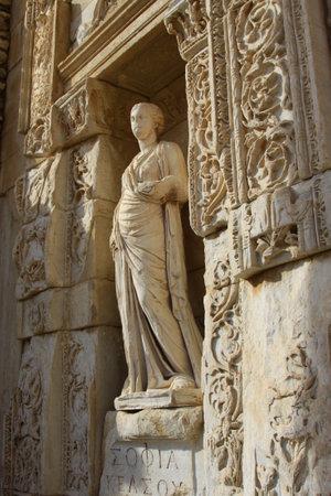 Statue from Library of Celsus, Ephesus, Ismir, Turkey;