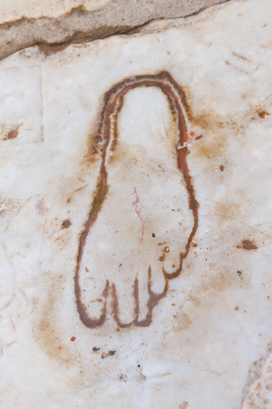 brothel: Footprint on Marble for advertisement of the Brothel in Ephesus, Turkey