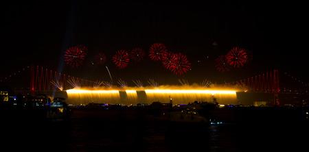 bogazici: Fireworks from Bosphorus Bridge, Istanbul, Turkey
