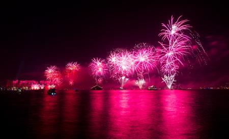 strait: Fireworks over Bosphorus Strait, Istanbul Stock Photo