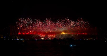 koprusu: Fireworks from Bosphorus Bridge, Istanbul, Turkey