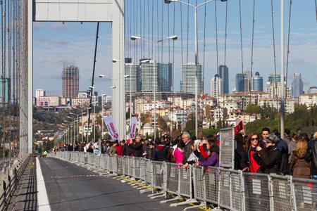 bogazici: People are crossing the Bosphorus Bridge from Asia to Europe during 35th Istanbul Eurasia Marathon Fun Run on November 17, 2013 in Istanbul, Turkey
