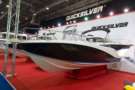 activ: ISTANBUL - FEBRUARY 22  Quicksilver Activ 675 boat in CNR Avrasya Boat Show on February 22, 2014 in Istanbul, Turkey