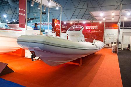 ISTANBUL - FEBRUARY 22  Pirelli inflatable boat in CNR Avrasya Boat Show on February 22, 2014 in Istanbul, Turkey