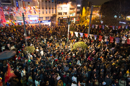 ISTANBUL, TURKEY - MARCH 11, 2014: People gathered in Kadikoy to protest after Berkin Elvan, who was 15 years old, died. He was hit in the head with a tear gas canister by Police.