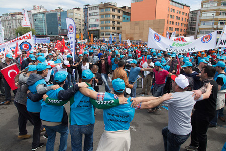 ISTANBUL, TURKEY - MAY 01, 2014: Unions gathered in Kadikoy to celebrate International Workers Day.
