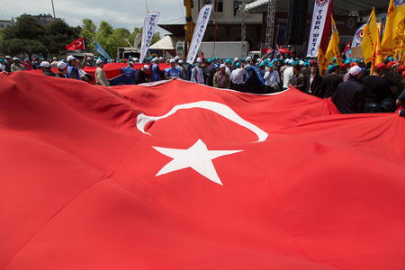 kadikoy: ISTANBUL, TURKEY - MAY 01, 2014: Unions gathered in Kadikoy to celebrate International Workers Day.