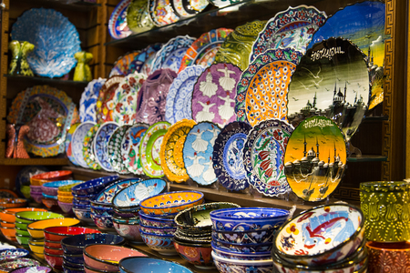 Turkish Ceramic Plates in Spice Bazaar, Istanbul City, Turkey photo