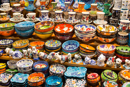 Turkish Ceramics in Spice Bazaar, Istanbul City, Turkey photo