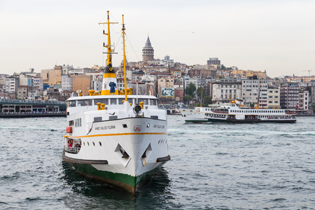 seaway: ISTANBUL, TURKEY - MAY 03, 2014: Sehir Hatlari ferry passing from Asian to European side of Istanbul. Sehir Hatlari was established in 1844 and now carry 150,000 passengers a day Editorial
