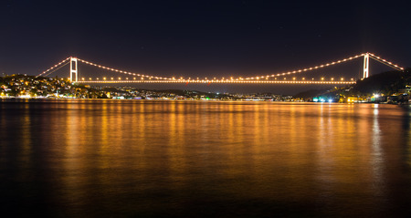 Fatih Sultan Mehmet Bridge in Istanbul City 免版税图像