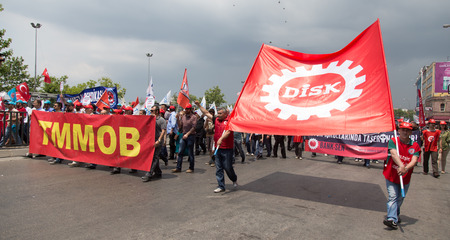 ISTANBUL, TURKEY - MAY 25, 2014: Unıon of chambers of Turkish engineers and architects march in protest against subcontractors in Turkey. Editorial