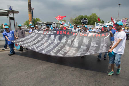 ISTANBUL, TURKEY - MAY 25, 2014: Unions march in protest against subcontractors in Turkey. Names of people who died in Soma mine disaster