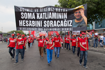 ISTANBUL, TURKEY - MAY 25, 2014: Unions march in protest against subcontractors in Turkey. We will ask account for Soma massacre write on banner Editorial