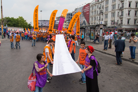 subcontractors: ISTANBUL, TURKEY - MAY 25, 2014: Unions march in protest against subcontractors in Turkey. Names of people who dead in Soma mine disaster