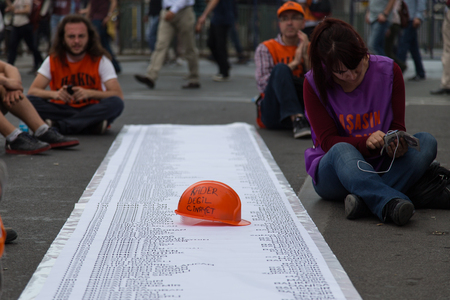 ISTANBUL, TURKEY - MAY 25, 2014: Unions march in protest against subcontractors in Turkey. Names od people who dead in Soma mine disaster Editorial
