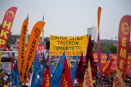 subcontractors: ISTANBUL, TURKEY - MAY 25, 2014: Unions march in protest against subcontractors in Turkey.