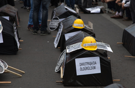 ISTANBUL, TURKEY - MAY 25, 2014: Replica coffins in march in protest against subcontractors in Turkey. Editorial