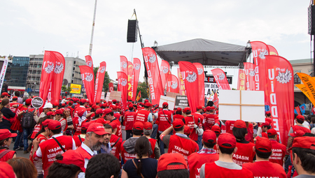 ISTANBUL, TURKEY - MAY 25, 2014: Unions march in protest against subcontractors in Turkey.