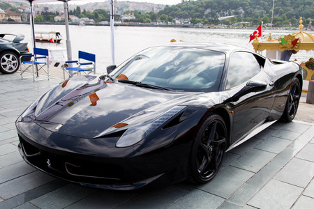 ISTANBUL, TURKEY - JUNE 07, 2014: A Ferrari in Istanbul Concours d'Elegance. Concours d'Elegance referring to the gathering of prestigious cars over 100 years.