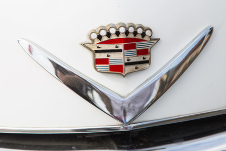 ISTANBUL, TURKEY - JUNE 07, 2014: Logo of a Cadillac in Istanbul Concours dElegance. Concours dElegance referring to the gathering of prestigious cars over 100 years.