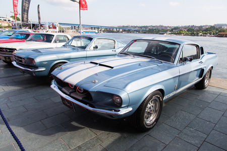 mustang gt: ISTANBUL, TURKEY - JUNE 07, 2014: 1967 Shelby Mustang GT 350 in Istanbul Concours dElegance. Concours dElegance referring to the gathering of prestigious cars over 100 years.
