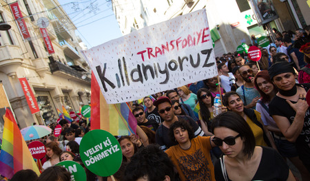 ISTANBUL, TURKEY - JUNE 22, 2014: 5. Trans Pride March held in Istiklal Avenue, Istanbul. We are opposite homophobic write on banner