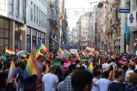 ISTANBUL, TURKEY - JUNE 22, 2014: 5. Trans Pride March held in Istiklal Avenue, Istanbul. Thousands of people gathered to celebrate begining of LGBT Honor week.
