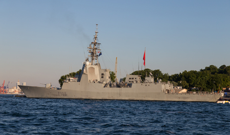 cristobal colon: ISTANBUL, TURKEY - JUNE 22, 2014: Spanish F105 class frigate Cristobal Colon (F105) in Istanbul Port. Editorial