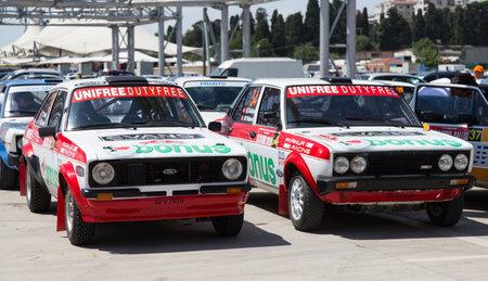 ralli: ISTANBUL, TURKEY - JULY 12, 2014: Bonus Unifree Parkur Racing Team cars before start of 35. Istanbul Rally
