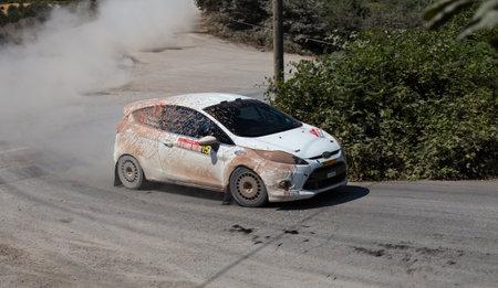 ralli: ISTANBUL, TURKEY - JULY 13, 2014: Eytan Halfon drives Ford Fiesta R2 in 35. Istanbul Rally, Ulupelit ITO Stage Editorial