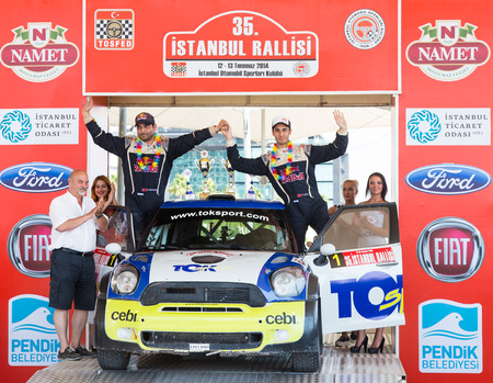 ISTANBUL, TURKEY - JULY 13, 2014: Yagiz Avci became third with Mini Cooper JWRC of Toksport WRT Team in 35. Istanbul Rally Editöryel