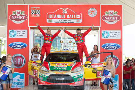 ralli: ISTANBUL, TURKEY - JULY 13, 2014: Bugra Banaz became sixth with Ford Fiesta R2 of Castrol Ford Team Turkey in 35. Istanbul Rally Editorial
