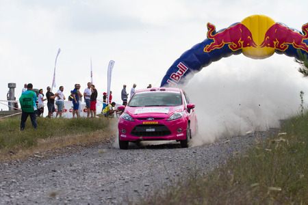 ralli: ISTANBUL, TURKEY - JULY 13, 2014: Serpil Pak drives Ford Fiesta R2 in 35. Istanbul Rally, Gocbeyli Namet Stage