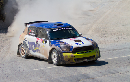 ISTANBUL, TURKEY - JULY 13, 2014: Yagiz Avci drives Mini Cooper JWRC of Toksport WRT Team in 35. Istanbul Rally, Ulupelit ITO Stage