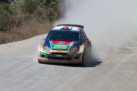 ralli: ISTANBUL, TURKEY - JULY 13, 2014: Murat Bostanci drives Ford Fiesta S2000 of Castrol Ford Team Turkey in 35. Istanbul Rally, Ulupelit ITO Stage