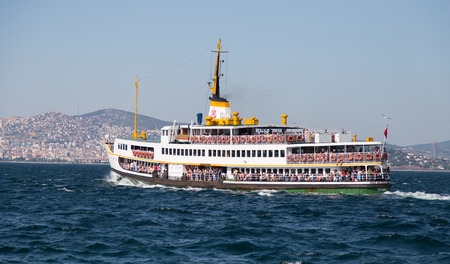 seaway: ISTANBUL, TURKEY - JULY 06, 2014: Sehir Hatlari ferry from Prince Islands to Istanbul. Sehir Hatlari was established in 1844 and now carry 150,000 passengers a day