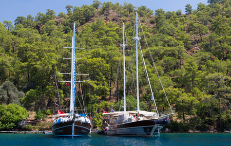 GOCEK, MUGLA, TURKEY - JULY 16, 2014: People in sailboat tours in Aegean sea. Aegean tours are one of the most populer activity for tourists in southern Turkey. Editöryel