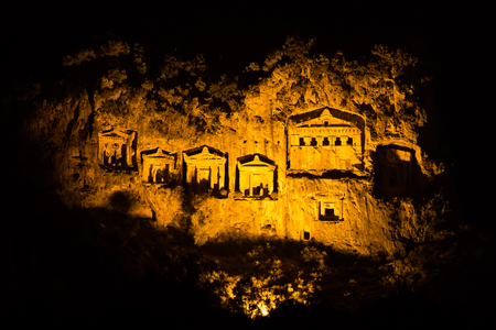 mugla: Kaunian rock tombs in Dalyan, Ortaca, Turkey
