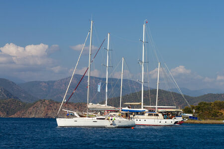 GOCEK, MUGLA, TURKEY - JULY 16, 2014: People in sailboat tour in Aegean sea. Aegean tours are one of the most populer activity for tourists in southern Turkey.