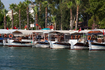 tour boats: DALYAN, MUGLA, TURKEY - JULY 18, 2014: Tour boats in Dalyan river. River tour between Koycegiz lake and Iztuzu beach is one of the most populer activity in Dalyan.