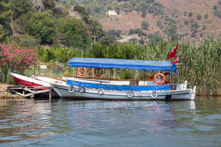 mugla: Boat tour in Dalyan River, Koycegiz, Mugla, Turkey Stock Photo