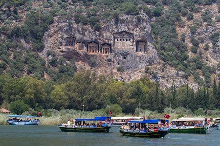 morass: DALYAN, MUGLA, TURKEY - JULY 20, 2014: People in Dalyan river tour. River tour between Koycegiz lake and Iztuzu beach is one of the most populer activity in Dalyan. Editorial