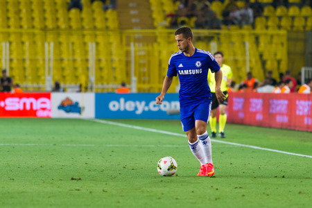 ISTANBUL - AUGUST 08, 2014: Chelsea player Eden Hazard is attacking to Besiktas in Soma Charity Tournament in Sukru Saracoglu Stadium.